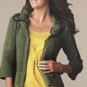 CAbi Flower Green Cardigan Size M